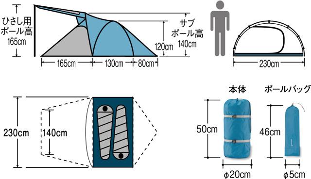 mont-bell クロノスキャビン 2型のサイズ