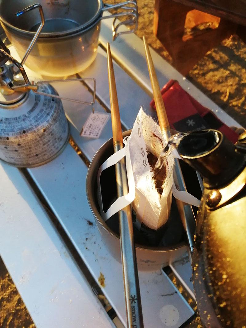 父子キャンプ モーニングコーヒー