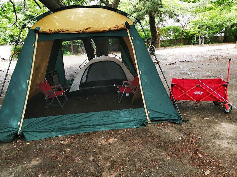 雨の日のキャンプ なんの幕をたてる?